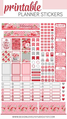 Style your Mini Happy Planner with all the fun and romance of February! This monthly printable planner stickers kit from Design Lovely Studio will make you smile all month long! Mini Happy Planner, Free Planner, Monthly Planner, College Planner, Teacher Planner, 2015 Planner, School Planner, Printable Planner Stickers, Journal Stickers
