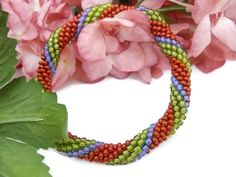 Hey, I found this really awesome Etsy listing at https://www.etsy.com/listing/203880659/crochet-bead-bangle-bracelet-green