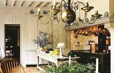 Axel Vervoordt / walls, beams, cream and blue