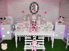 Pink and black dessert table at a Minnie Mouse birthday party! See more party planning ideas at CatchMyParty.com!