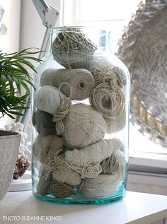 yarn and twine in jar via: Green Wellies