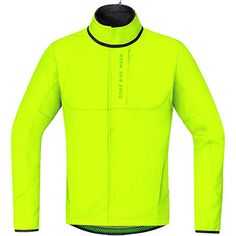 GORE BIKE WEAR Mens Thermo mountain bike jacket GORE WINDSTOPPER Soft Shell POWER TRAIL WS SO Size L Neon Yellow JWPOWT -- Click image to review more details.