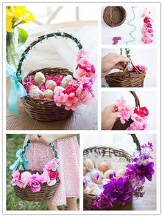 Flower Decorated Basket With Easter Eggs