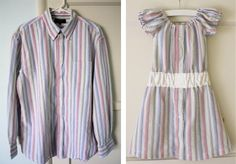 Toddler Shirt Dress Tutorial from old work shirt from Daddy Sewing Kids Clothes, Diy Clothes, Belle Dress Toddler, Shirt Dress Tutorials, Umgestaltete Shirts, Work Shirts, Robe Diy, Shirt Refashion, How To Make Clothes