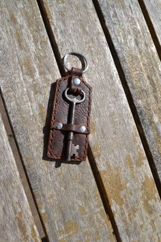 Leather Keychain with Vintage Skeleton Key