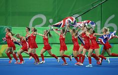 Celebrations for Team GB's women's hockey team