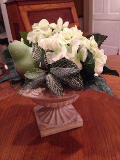 Pedestal Vase with floral and fruit arrangement #Unbranded