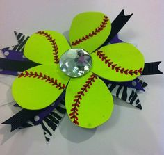 Softball Flower Hair Bow - REAL Softball via Etsy