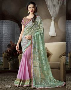 Pink with Sea Green Color Heavy Embroidered Designer Saree