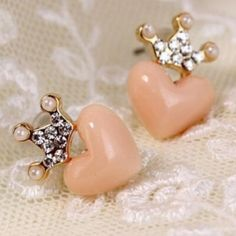 Pink heart earrings with rhinestone crowns Super cute earrings $8.00 a pair! Ask me about bundle deals!  NO TRADES and PRICE IS FIRM unless bundling!! Happy Poshing ❤️ Jewelry Earrings