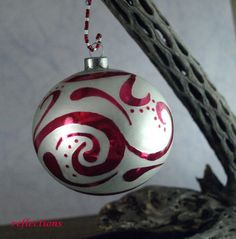 White and Red Abstract Floral Art Ornament by reflections on #HandmadeArtists.com