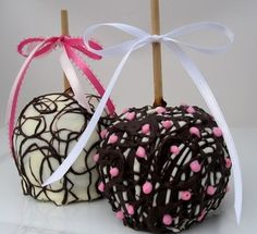 """Signature Favorite made for any event"" Chocolate Apples - Caramel and Chocolate Covered with Pink, White and Brown. White and semi sweet chocolate decorated and garnished with sugar crystals, chocolate colored in pretty pink tones and delicate swirls and lines in pinks, browns and whites. Our Jumbo apples are FRESH and Delicious, starting with hand picked extra fancy for pure perfection. Chocolate Shop, Easter Chocolate, Chocolate Caramels, Chocolate Lovers, Caramel Candy, Caramel Apples, Gourmet Candy Apples, Apple Pop, Chocolate Covered Apples"