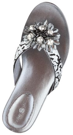 9499e433722 Silver Flip Flop with Black and Silver bow