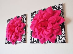 """TWO Wall Flowers -Hot Pink Dahlia Flowers on Black and White Damask Print 12 x12"""" Canvas Wall Art- Baby Nursery Wall Decor- on Etsy, $66.00"""