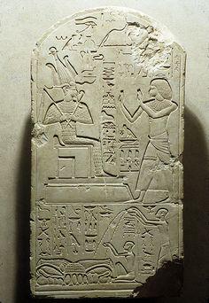 Stela of Senu Adoring Osiris  Period:      New Kingdom  Dynasty:      Dynasty 18  Reign:      reign of Amenhotep III  Date:      ca. 1390–1352 B.C.  Geography:      Egypt, Middle Egypt, Tuna el-Gebel possibly  Medium:      Limestone