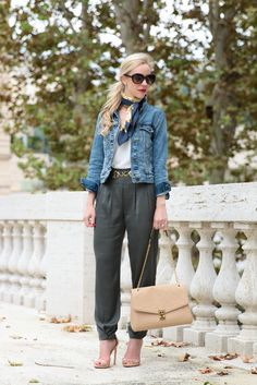 Welcome to the Jungle: J. Crew cropped vintage denim jacket, Ferragamo silk scarf, tapered olive pants, Louis Vuitton St. Germain bag dune leather,  safari inspired outfit, tapered pants with heels