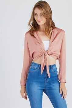 TAMRYN TIE FRONT BLOUSE