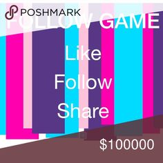 ✨Follow Game✨ Thank you for participating in my 1st Follow Game ✨✨Goal: 10,000 followers✨✨ 1. Like this post 2. Follow me 3. Follow everyone else who likes this 4. Share this post & tag friends 5. Check back often for more followers Other