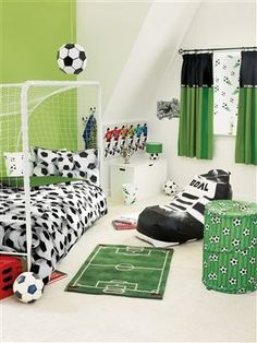 Boys Football Bedroom Ideas blue football themed bedroomcatherine lansfield - includes 7