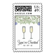Lacy Leaves with Champagne Postage Stamps