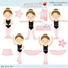 Ballerina Positions Brunette Cute Digital by JWIllustrations, $5.00