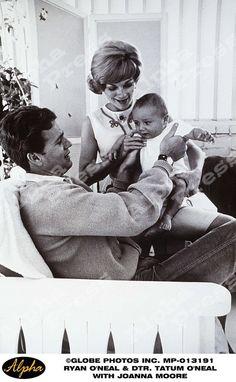 Actor Ryan O'Neal and actress Joanna Moore with their daughter, actress Tatum O'Neal.