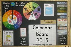 "Our 2015-2016 Calendar Board (homemade ""chalkboard"" with foam board and rulers)"