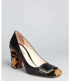 7a3d3943509 ShopStyle.com  Prada black leather leopard print calf hair block heel pumps   632.00 All