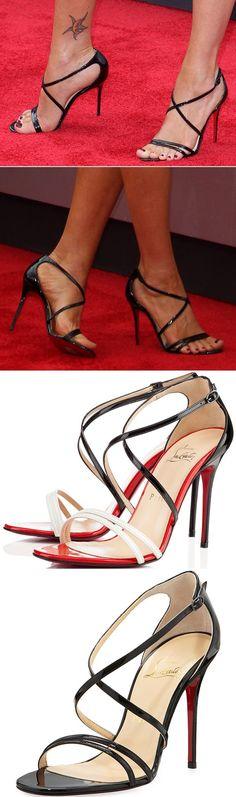 "Megan Fox showing off her feet in Christian Louboutin ""Gwynitta"" sandals in black"