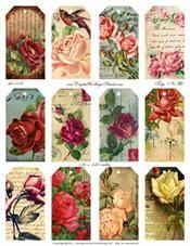 Free Printable Vintage Rose Tags! :)