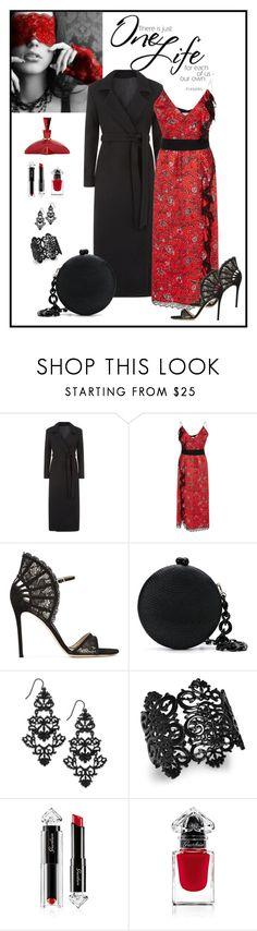 """""""Cinq à Sept Petra Printed Cascading Ruffle Dress Look"""" by romaboots-1 ❤ liked on Polyvore featuring Cinq à Sept, Gianvito Rossi, Serpui, Thalia Sodi and Guerlain"""
