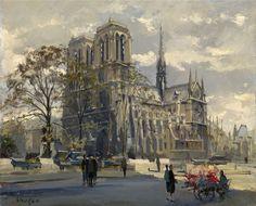 Norte Dame de Paris by Constantin Kluge (French 1912-2003)