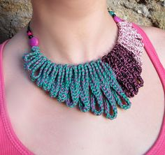 Crocheted Jewelry Idea ~ Cotton yarn crochet collar necklace {by GiadaCortellini on Etsy}