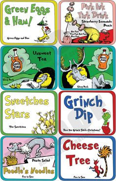 Dr Seuss Deluxe Theme Food Label Set by AmpersandCreations. , via Etsy.GREAT for a Dr. Seuss' birthday party celebration at school or even a themed b-day party. Dr Seuss Party Ideas, Dr Seuss Birthday Party, 2nd Birthday Parties, Birthday Ideas, Twin First Birthday, Baby Birthday, Dr Suess Baby, Cat In The Hat Party, Theodor Seuss Geisel