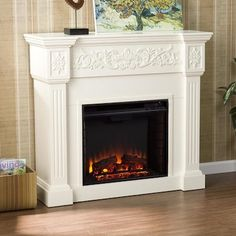 Boston Loft Furnishings 44.5-in W Ivory Fan-Forced Electric Fireplace in the Electric Fireplaces department at Lowes.com