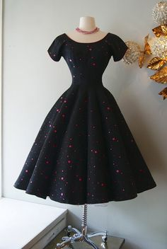 The Quintessential 50's Lucy Party Dress with Pink Polka Dots by Charella (Xtabay Vintage Clothing Boutique - Portland, Oregon)