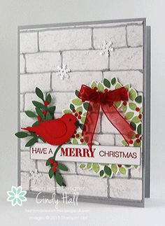 hamdmade Christmas card by Cindy Hall ... white brick wall texture ... red punched bird ... Wondrous Wreath ... Stampin' Up!