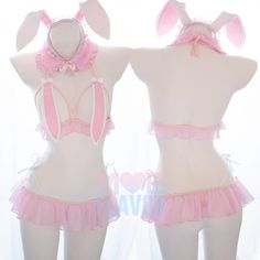 Japanese Kawaii Blush Pink Bunny Ears Lingerie Set Color: Pink Set includes: Bunny, Ears, Colla,r Top, Skirt, Thong. MOEFLAVOR- Up to -89% discount on all products Maid Lingerie, Pink Lingerie, Lingerie Outfits, Pretty Lingerie, Lingerie Dress, Pretty Outfits, Cute Outfits, Bunny Outfit, Maid Outfit
