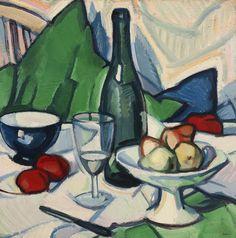 Samuel John Peploe (Scotland 1871- 1935)  Still life with Bottle (c. 1912) oil on canvas 20 x 20 ins