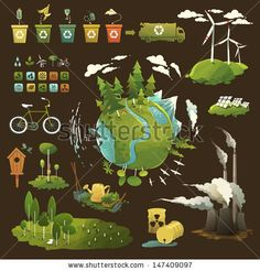 Thematic illustrations for environmental movement and environmental issues by Shlapak Liliya, via ShutterStock