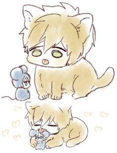 Cat and mouse ...   Drawn by uto00rog ... Free! - Iwatobi Swim Club, haruka nanase, haru nanase, haru, nanase, haruka, makoto tachibana, makoto, tachibana, free!, iwatobi, cat, neko, mouse