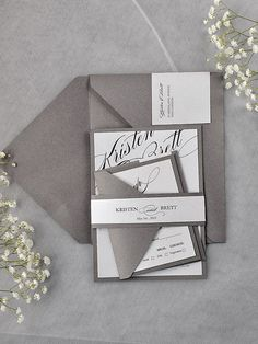 alternate way to package everything together Simple Calligraphy Invitation Grey Wedding by DecorisWedding, $5.20