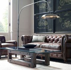 36 Gorgeous Industrial Living Room Design And Decoration Ideas - Decorating our home has become a labor of love for my wife and I. By far, our favorite room to decorate has been our living room. This space has becom. Classy Living Room, Living Room Decor, Living Spaces, Manly Living Room, Masculine Living Rooms, Man Cave Furniture, Furniture Design, Furniture Ideas, Sofa Ideas