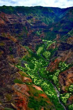 Waimea Canyon, aka the Grand Canyon of the Pacific, located on the western side of Kaua'i, Hawaii, USA