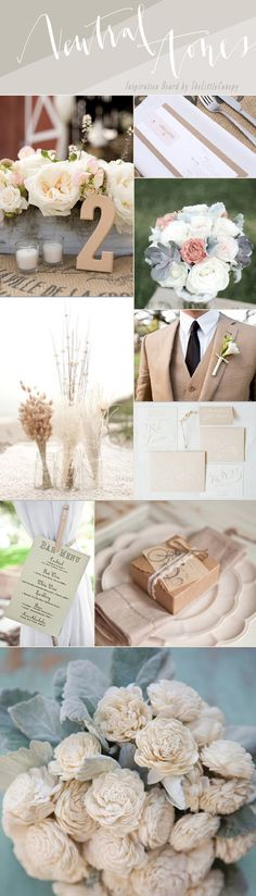 Looking for a natural theme that isn't just all one nude color? Don't be afraid to mix it up with some neutral tones! Including some white, ivory, nude and grey tones will help create an aura of natural beauty and romance. If you want to add a pop color, try something bold like persimmon or emerald! Enjoy! Artsy natural theme wedding inspiration board
