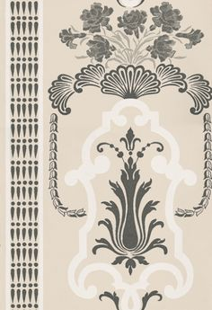 Bergius+Pebble+(P554/03)+-+Designers+Guild+Wallpapers+-+A+cool+and+classically+elegant+design+influenced+by+late+18th+century+painted+wall+panels.+Showing+in+beige+and+black+on+white.+Please+request+a+sample+for+true+colour+match.+Other+colour+ways+available.+Paste-the-wall+product.