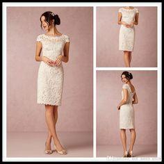 Robe de Mariage 2017 Short Wedding Dresses With Sleeve White Knee Length Wedding Dress Bridal Gowns Bohemian Lace Wedding Dress