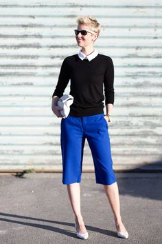 Angie's Tin Tin outfit. Love the long shorts paired with the strict collared top.