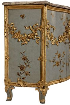 Italian 19th century Louis XV st. painted and gilt three door buffet | From a unique collection of antique and modern buffets at https://www.1stdibs.com/furniture/storage-case-pieces/buffets/
