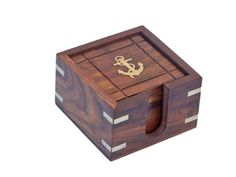 Hampton Nautical  Wooden Anchor Coasters with Rosewood Holder (Set of 6), 3""